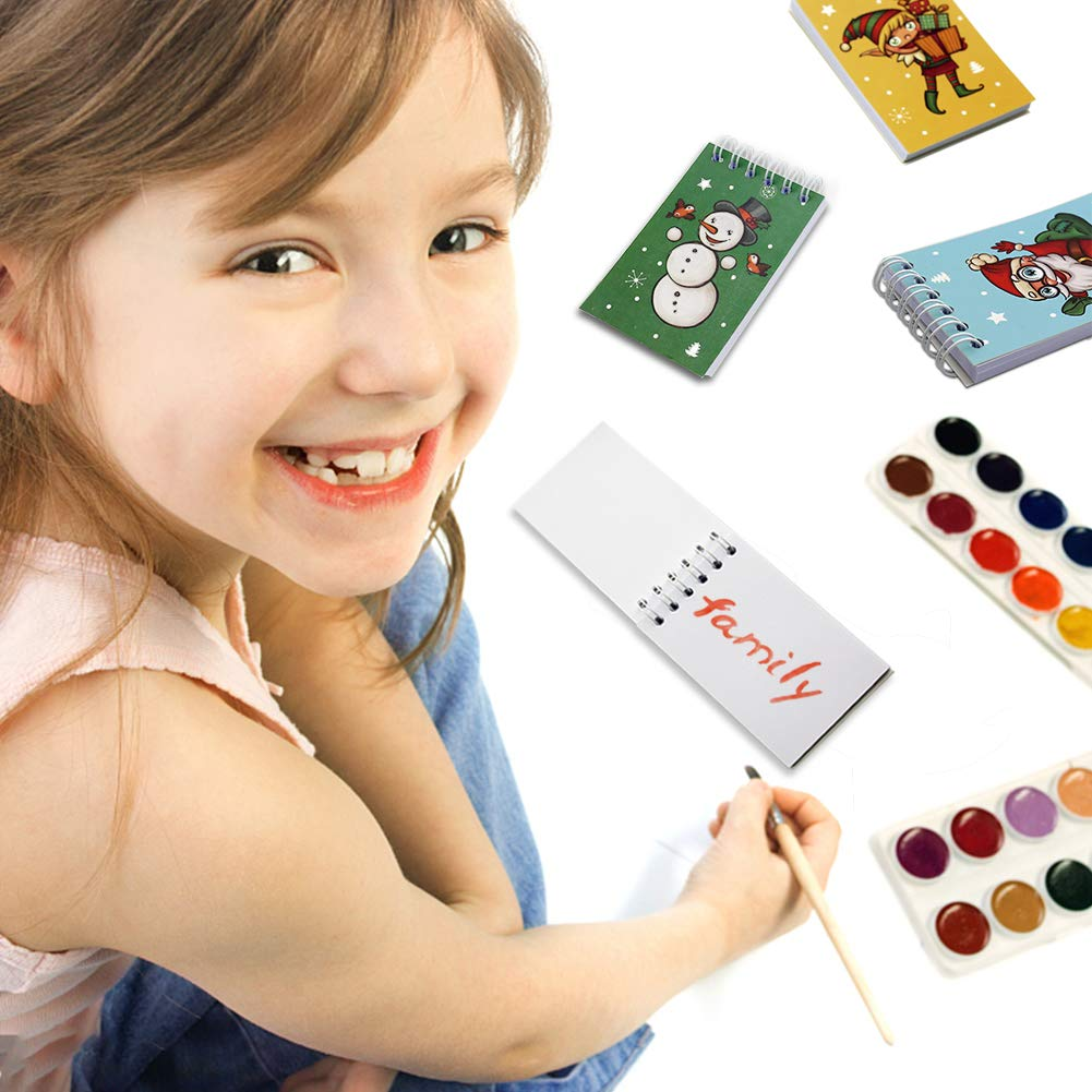 Mini Spiral Notepads,12pcs Mini Notebooks Christmas Themed Spiral Memo Pads Steno Notepads Great Gift Bag Stuffers Party Favors for Kids Party Christmas Celebration