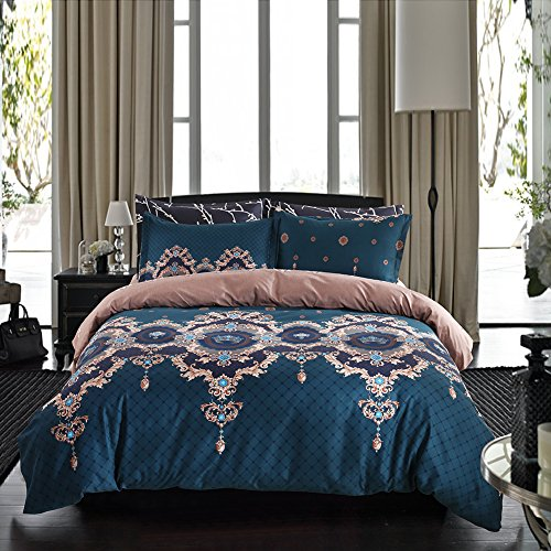 Bohemian Duvet Cover Set Luxury European Bedding Blue/Brown Floral Reversible Design King Size-3 Pieces(1 Duvet Cover + 2 Pillowcases)-120 gsm Microfiber Baroque Style Bedding Set by Moreover