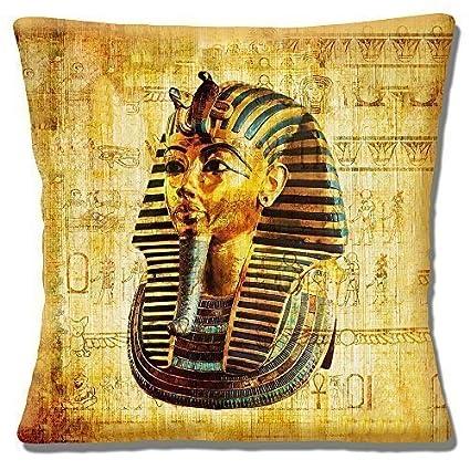 Egipcio Tutankamon Máscara Antigua Símbolos Multicolor - 40.6cm (40cm) Funda De Cojín