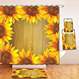 Nalahome Bath Suit: Showercurtain Bathrug Bathtowel Handtowel Sunflower Decor Sunflower Arranged in A Circle on A Wooden Background Flower Frame Illustration Brown Orange