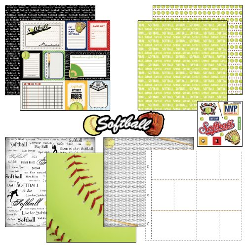 Scrapbook Customs Themed Paper and Stickers Scrapbook Kit, Softball