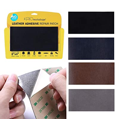 KASOworkshops Leather Repair Patch for Sofas Car Seats Handbags Jackets Leather & Vinyl Adhesive Plain 8 x 4 inch Black: Arts, Crafts & Sewing