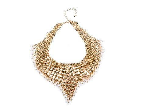 89c783b76650 HZYRR Collar de Perlas para Mujer Collar de Perlas con Cadena Europea y  Americana. Collar