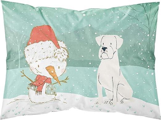 Carolines Treasures Brown Maltese Snowman Christmas Fabric Standard Pillowcase Multicolor