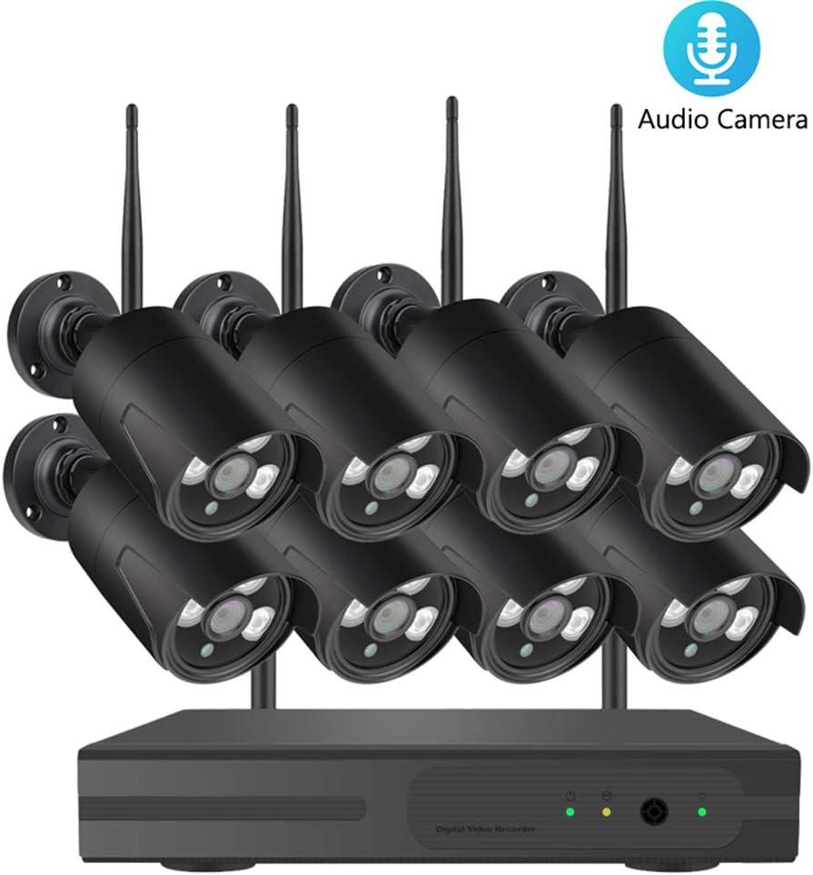 QLPP Sistema de cámaras 1080P Wireless Home Seguridad al Aire Libre, Kits 8CH 1080P HD NVR inalámbrica Circuito Cerrado de televisión los Sistemas de vigilancia WiFi NVR con 8pcs 1080P Cámaras,B