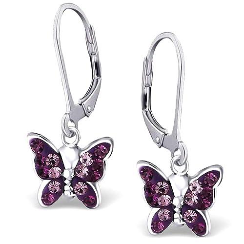 Ohrringe für Kinder Damen Ohrstecker 925 echt Silber Herz Sterling Silber Lila