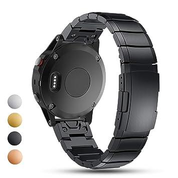 Feskio - Correa de Repuesto para Reloj GPS Garmin Fenix 5X/Fenix 3 HR Multisport (Acero Inoxidable), Negro: Amazon.es: Deportes y aire libre