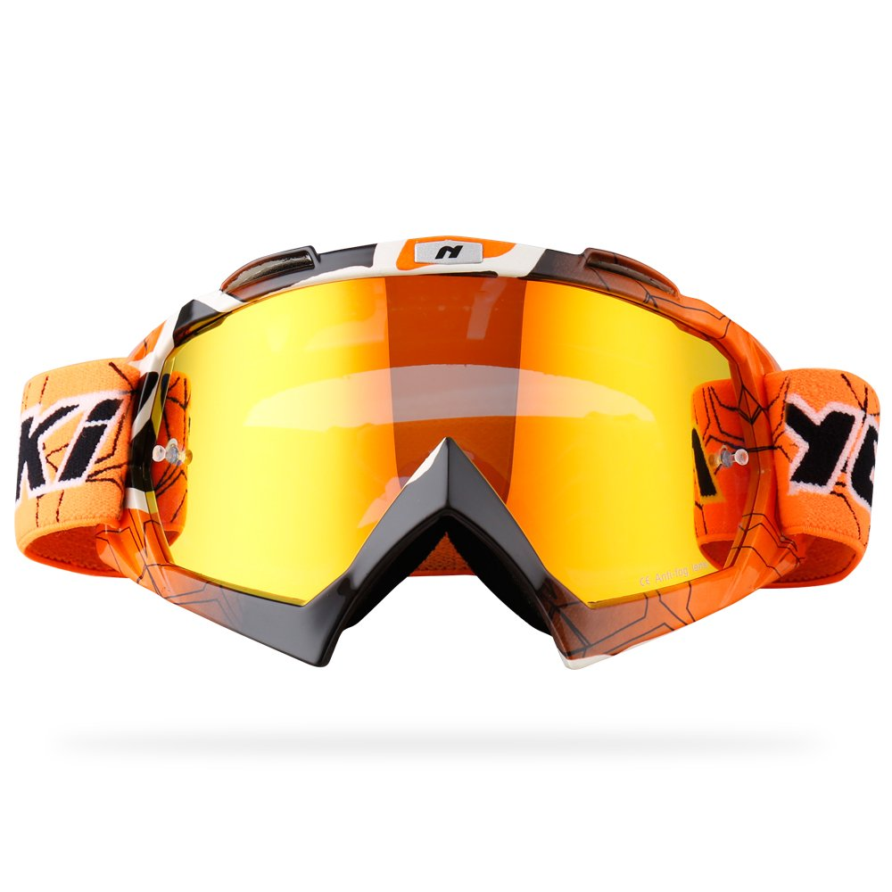 NENKI MX Goggles NK-1019 Motocross ATV Off Road Dirt Bike Goggles For Unisex Adult (Techline Orange,Iridium Red Lens)