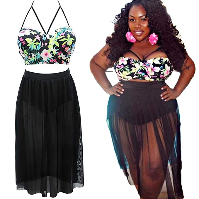 Women's Plus Size Swimsuit,Two-Piece Big Bikini with Long Black Mesh Tulle  Skirt