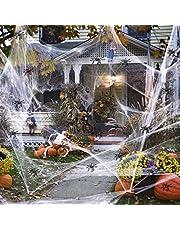 GUAN Halloween White spinnennet, rekbaar spinnenweb met 100 stuks kleine spinnen genoeg om 1000 m² te bedekken, Halloween-decoratie partyaccessoires voor binnen en buiten (300 g spinnennet)
