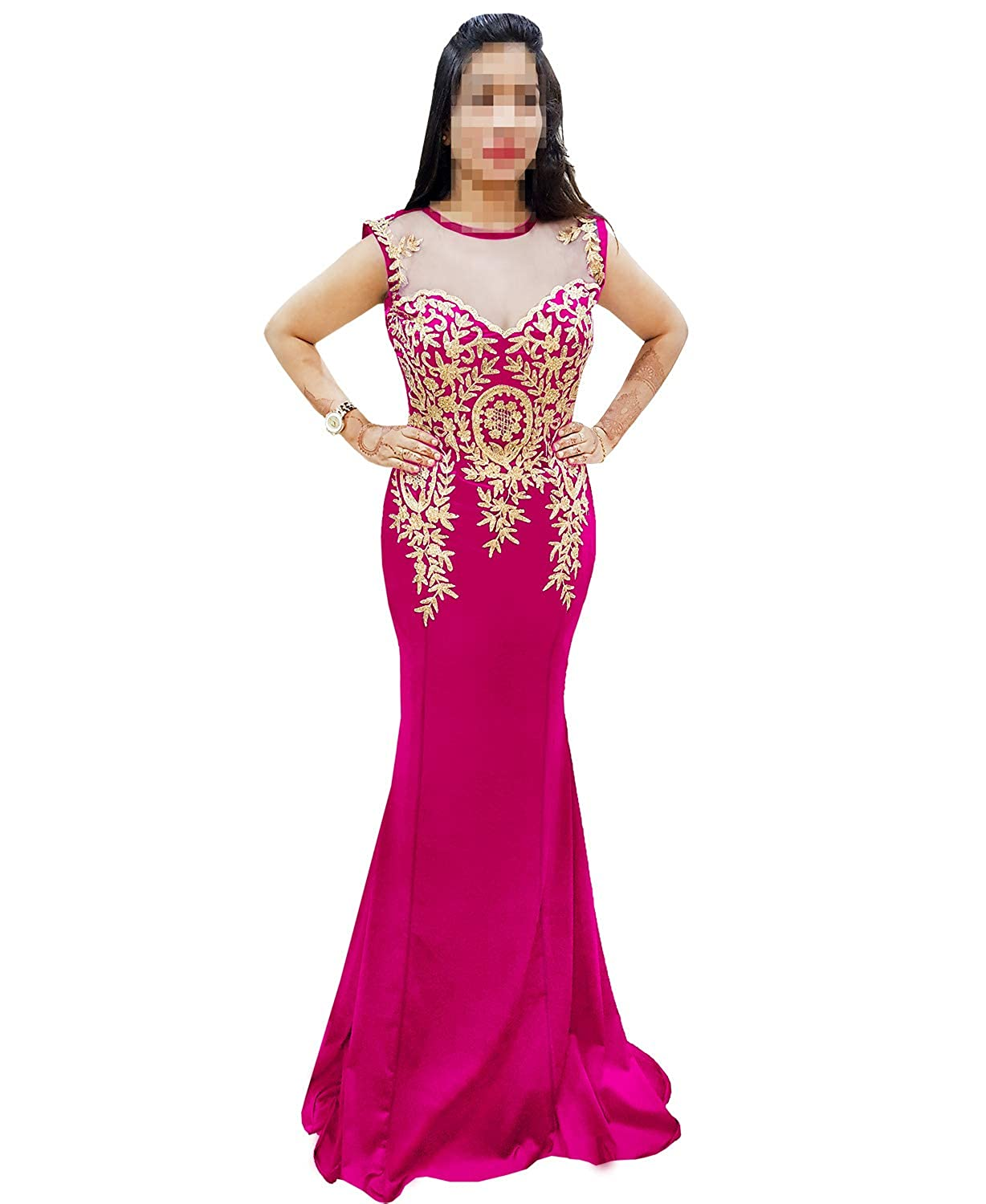 Fuchsia African Boutique Women's Rhinestone Long Zari Embroidery Formal Mermaid Evening Prom Dresses