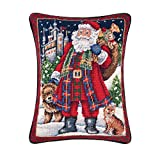 12x16 Inches Needle Point Christmas Pillow, Highlands Santa