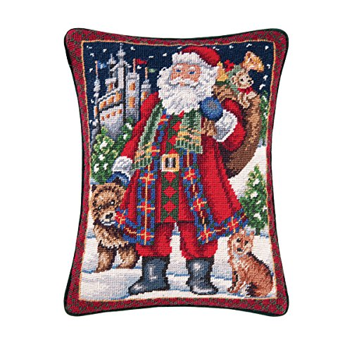 C&F Home 12x16 Inches Needle Point Christmas Pillow, Highlands Santa