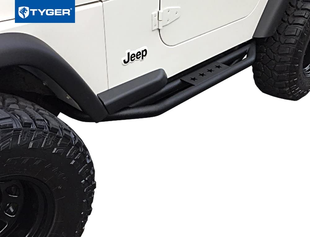 Tyger Auto 87-06 TG-BP9J85398 Rear Bumper with D-Ring Mounts Textured Black Compatible with 1987-2006 Jeep Wrangler TJ//YJ
