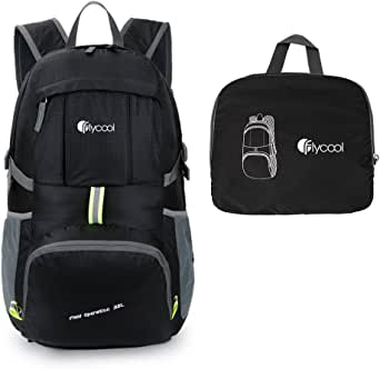 FLYCOOL 35L Water-Resistant Lightweight Foldable Durable Travel Hiking Backpack Daypack Black