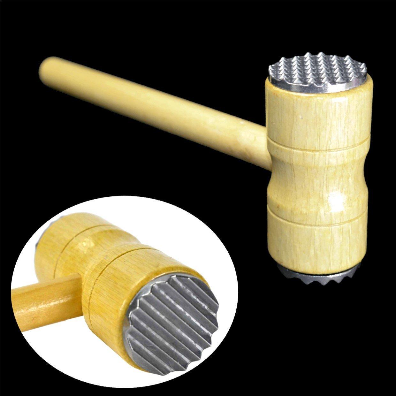 26cm Heavy Duty Wooden Meat Tenderiser Double Side Hammer SRJ
