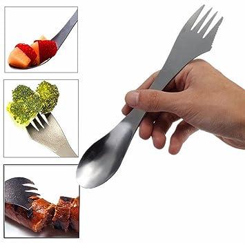 TOOGOO Juego de cubiertos para ninos Juego de acero inoxidable 304 para ninos incluye cuchillo tenedor cuchara cucharilla