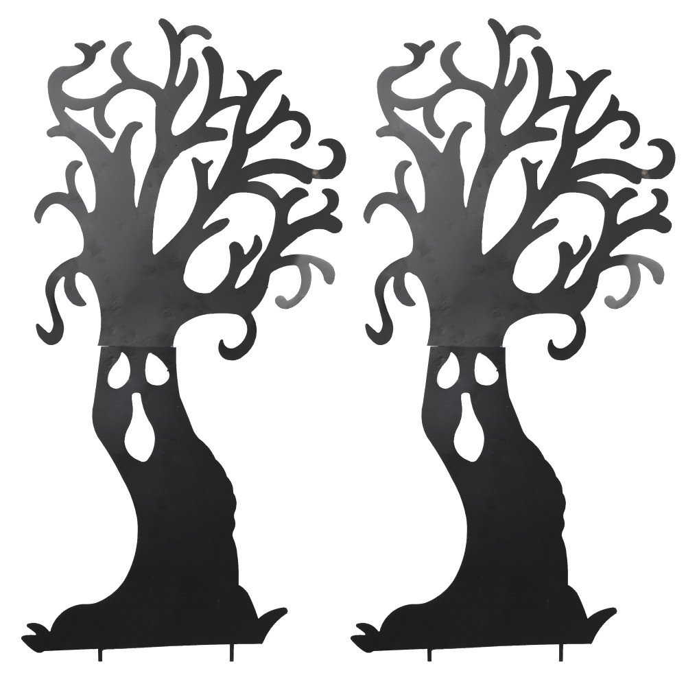 Set of 2 66.5-Inch Tall Black Metal Haunted Tree Silhouette Yard Stakes Outdoor