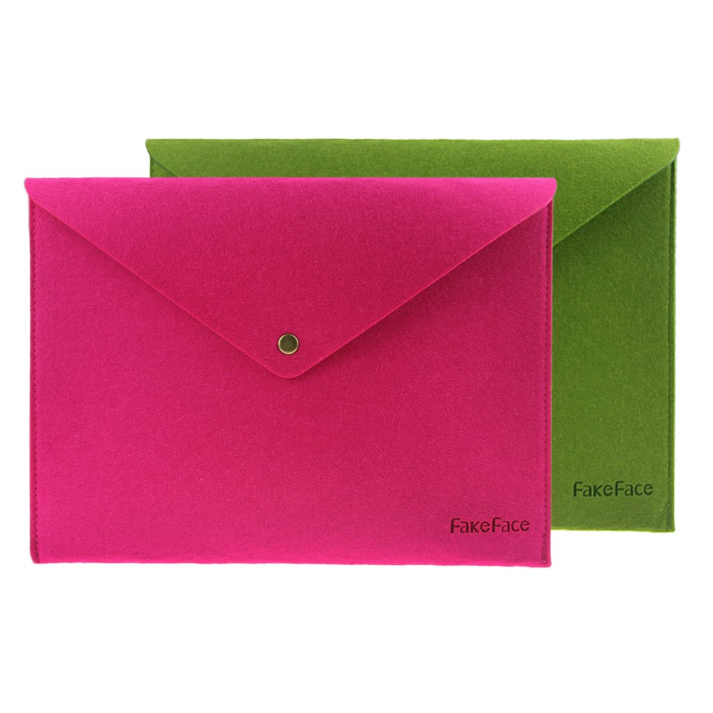 FakeFace Felt A4 Envelope File Button Storage Bag Case Document Bills Paper Container Kit Pouch Briefcases for Office Home School Stationery Two Color Set (Rose Red+Green)