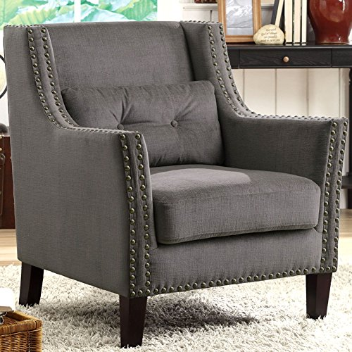 A Line Furniture Harvard Madrid Design Decorative Grey Wing Accent Chair with Nail Head Trim (Chair Madrid Accent)