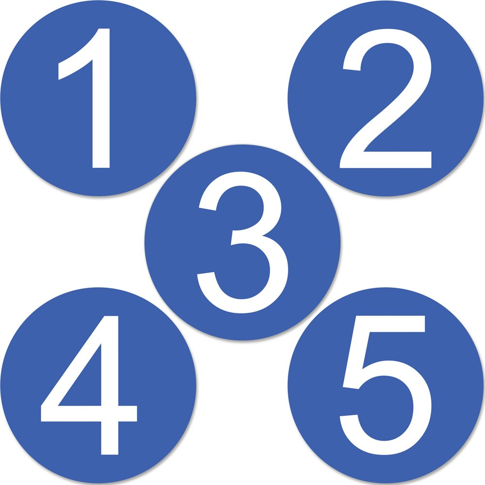 Round Blue Vinyl Number Stickers