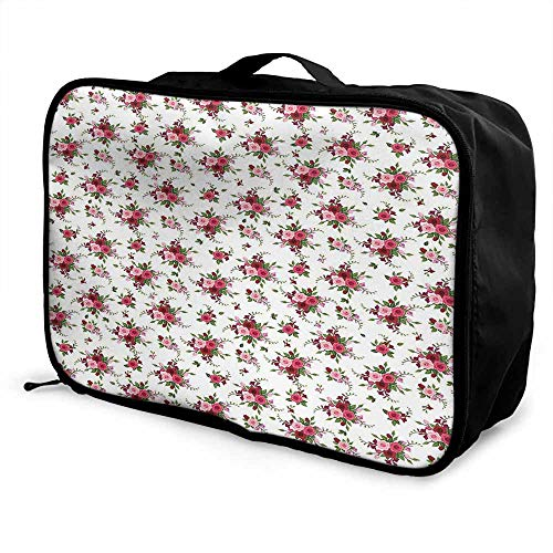 Flowers Luggage trolley bag Bridal Bouquets Pattern with Roses and Freesia Romantic Victorian Composition Waterproof Fashion Lightweight Pink Ruby Green