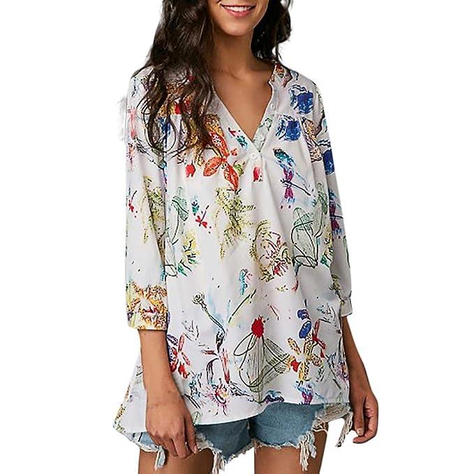 Cinnamou Blusa para Mujer, Mujer Camisas Gasa de Estampadas Flores del Fiesta Verano Manga Larga