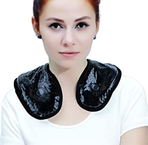 Ice Packs for Neck Shoulder with Soft Plush Backing, Cooling Neck Wrap with Reusable Gel Beads,Hot/Cold Therapy Pack for Neck Pain Relief,Sore Shoulder and Stiff Muscles [Black]