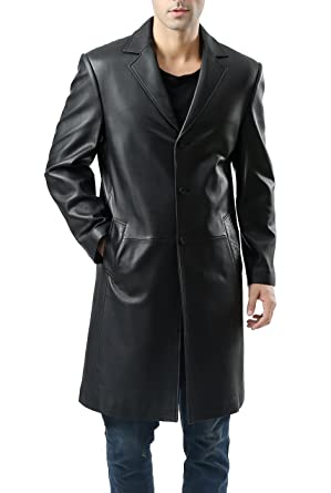 BGSD Men's Classic New Zealand Lambskin Leather Long Walking Coat ...