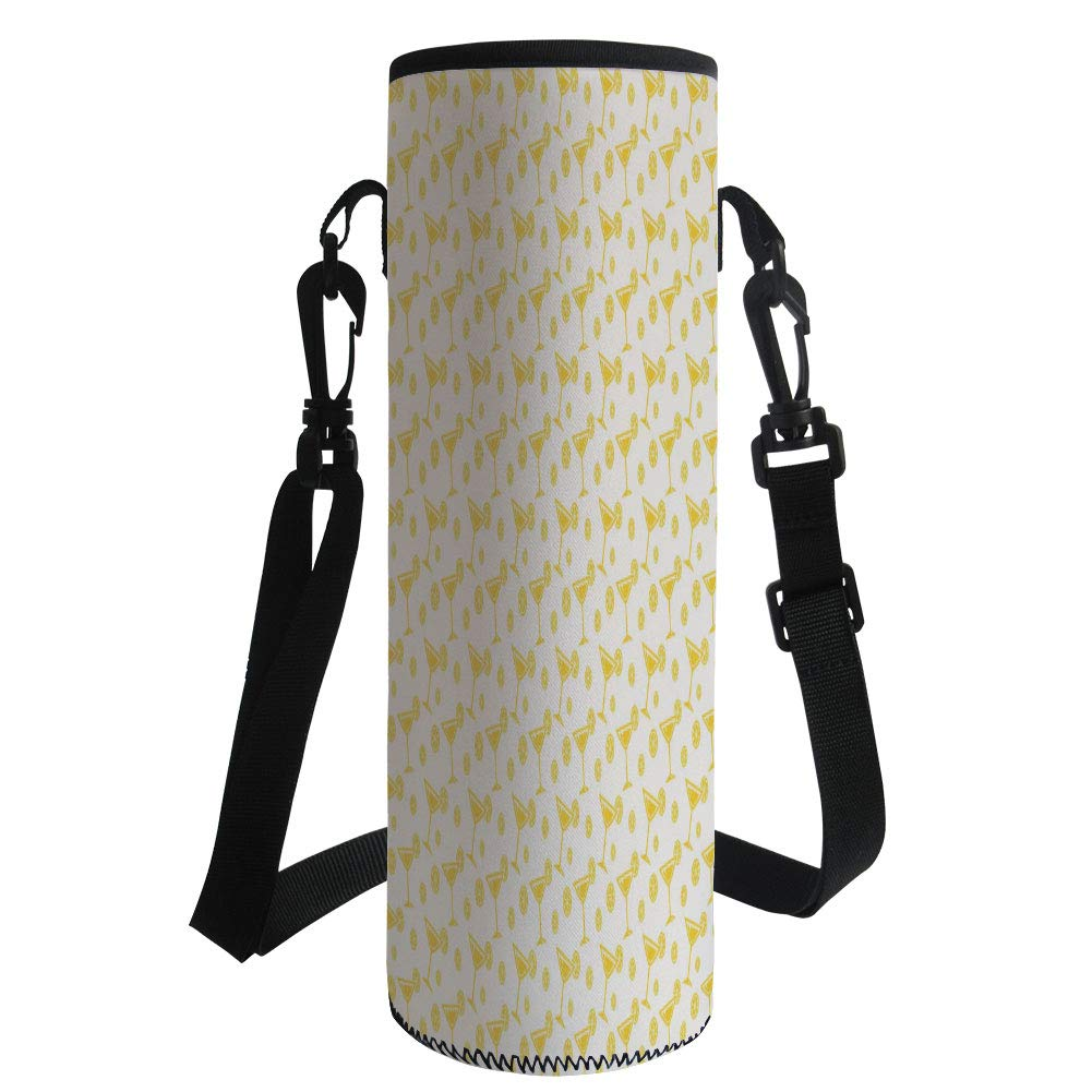 Water Bottle Sleeve Neoprene Bottle Cover,Geometric,Polynesian Drinks with Lemon Summer Time Cocktails Pattern Drinking Having Fun Decorative,Yellow White,Fit for Most of Water Bottles