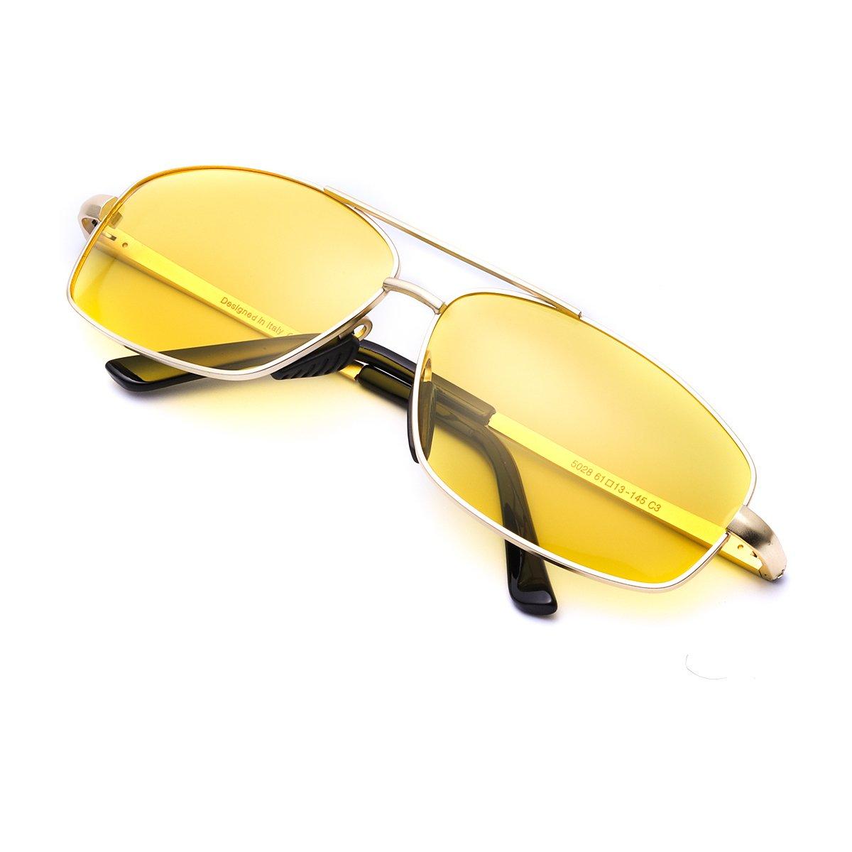 Gafas Conduccion Nocturna Amarilla Rectangulares Hombre Polarizadas Anti Reflectante Ultraligero Metal-100% de Protección Contra Los Rayos UVA/UVB Dañi