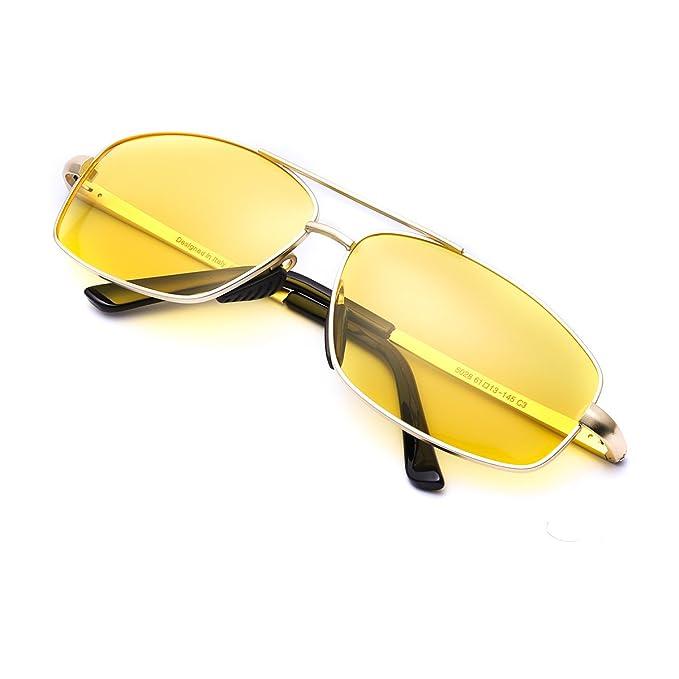 ELIVWR Gafas Conduccion Nocturna Amarilla Rectangulares Hombre Polarizadas Anti Reflectante Ultraligero Metal-100% de