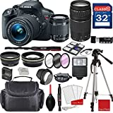 Canon EOS Rebel T5i DSLR Camera w/EF-S 18-55mm f/3.5-5.6 IS STM and EF 75-300mm f/4-5.6 III Lenses + Professional Accessory Bundle