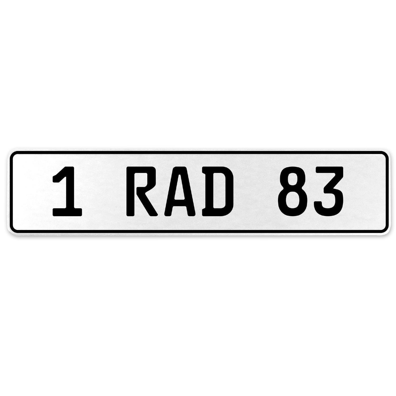 Vintage Parts 554086 1 RAD 83 White Stamped Aluminum European License Plate