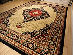 New Traditional Rugs Multiple Sizes Rug 5x8 Black Rugs Traditional Rugs 5x7 Black Cream Beige Red Dining Room Area Rugs (Medium 5\'x8\' Rug)