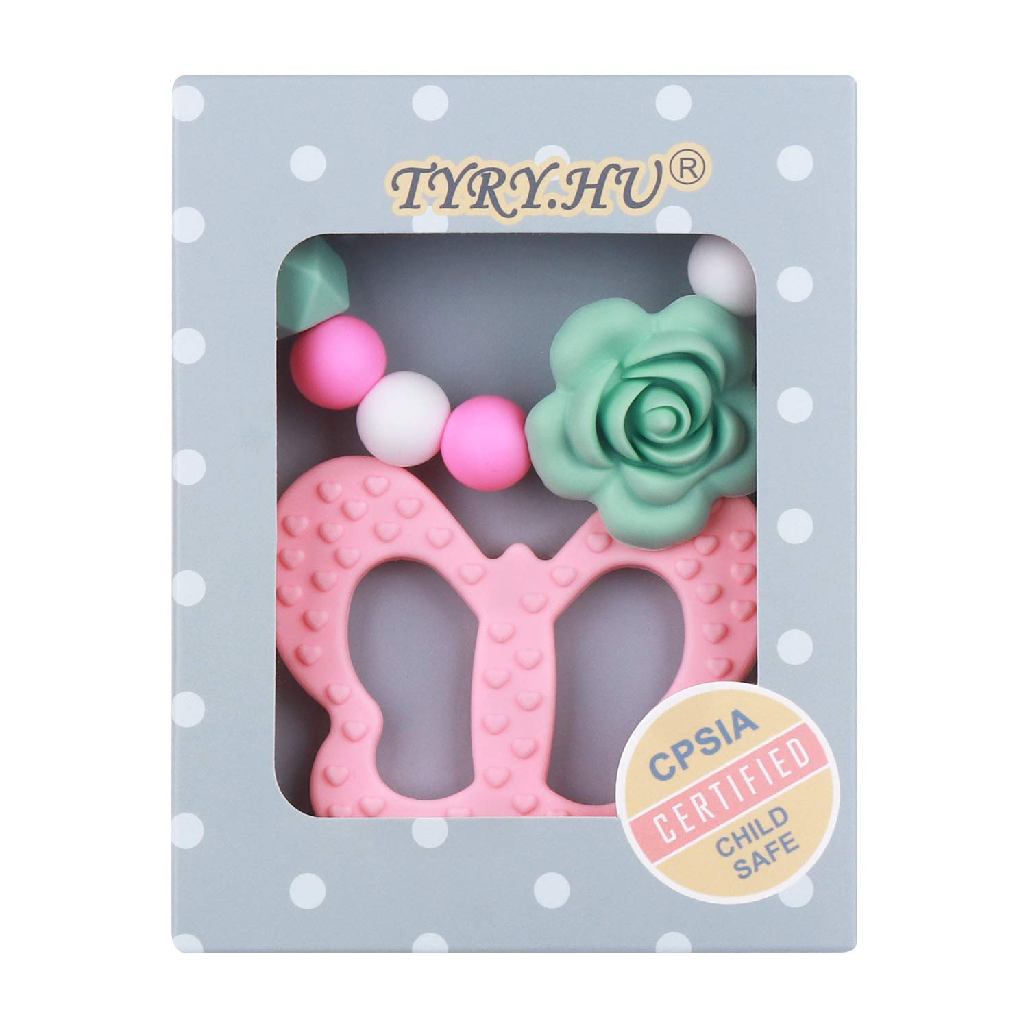 Pacifier Clip with Butterfly Teether for Girls, TYRY.HU BPA Free Food Grade Silicone Baby Teething Relief Toys Binky Holder Set