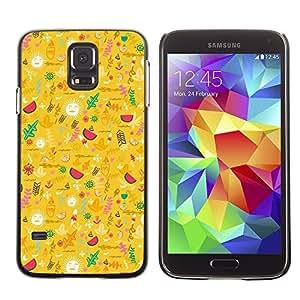 TopCaseStore / la caja del caucho duro de la cubierta de protección de la piel - Yellow Happy Upbeat Pattern - Samsung Galaxy S5 SM-G900