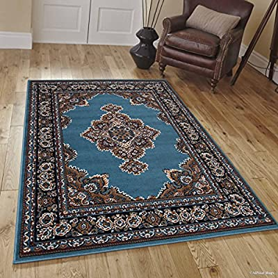 Allstar Light Blue Woven Bordered Traditional Persian Floral Designed Area Rug