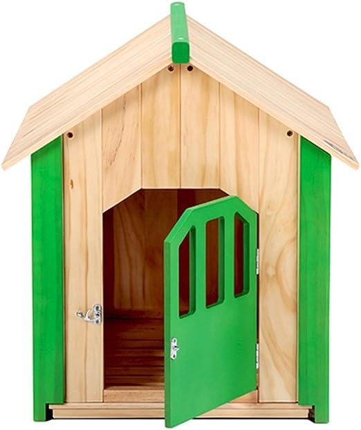 PLDDY Casa del Gato del Perro, Perrera de Madera, jardín Refugio al Aire Libre de la Piel del Animal con el Piso movible: Amazon.es: Productos para mascotas