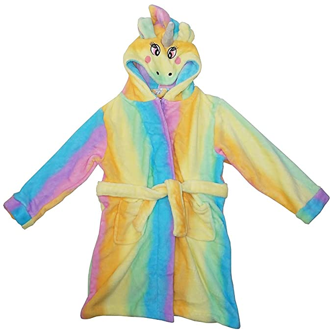 Girls Rainbow UNICORN Horse Hooded Dressing Gown with Tail 7-13 Years RRP £39.99