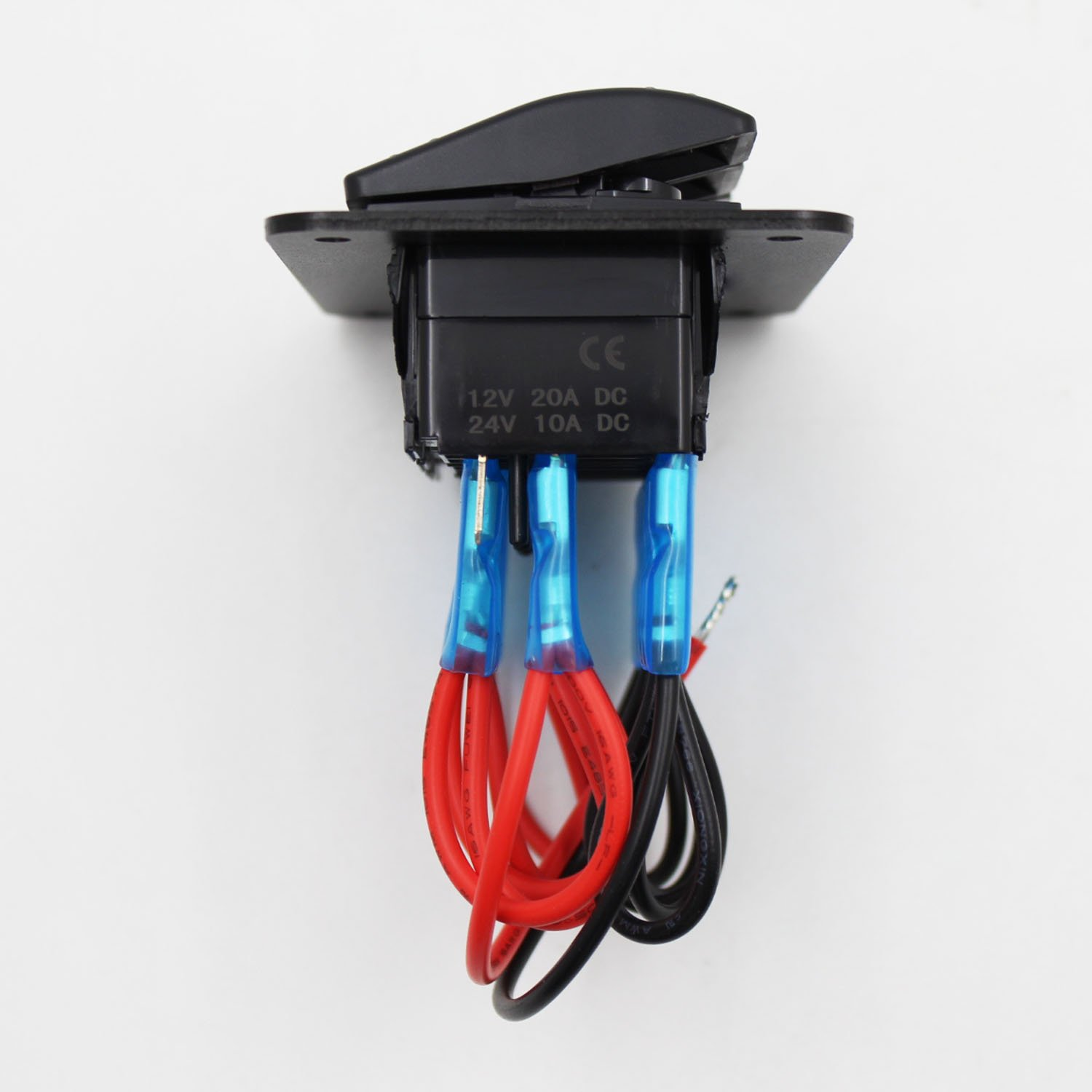 FXC Rocker Switch Aluminum Panel 3 Gang Toggle Switches Dash 5 Pin ON/Off 2 LED Backlit for Boat Car Marine Blue by FXC