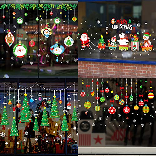 Window Stickers for Christmas Decorations,BS Adhesive Wall Window Clings Decals Christmas Tree Wall Window Door Stickers for Home Office Shop Window Glass Door Holiday Decorations(Style B, 4 Sheets) (Display Window Christmas Shop Decorations)
