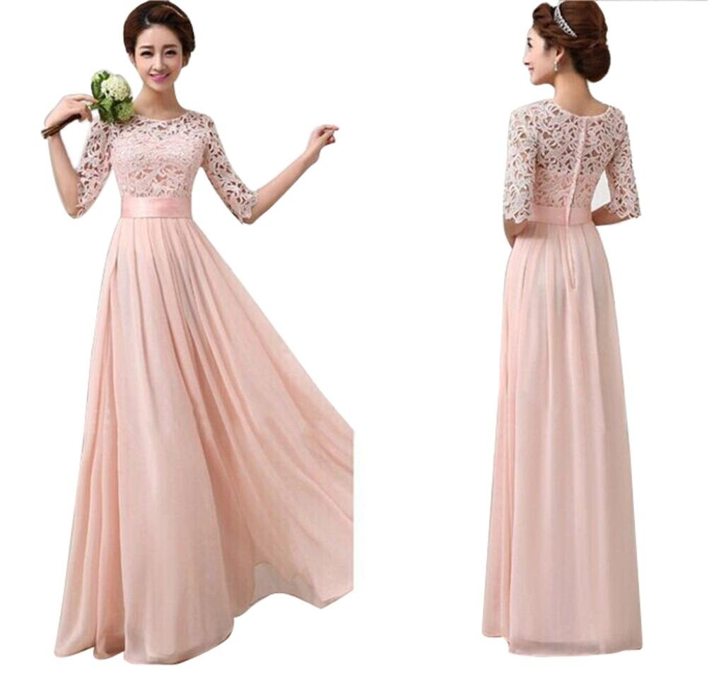 Women's Lace Chiffon A-line Long Maxi Dress Evening Wedding Bridesmaid Gown (S, Pink) by Zainafacai