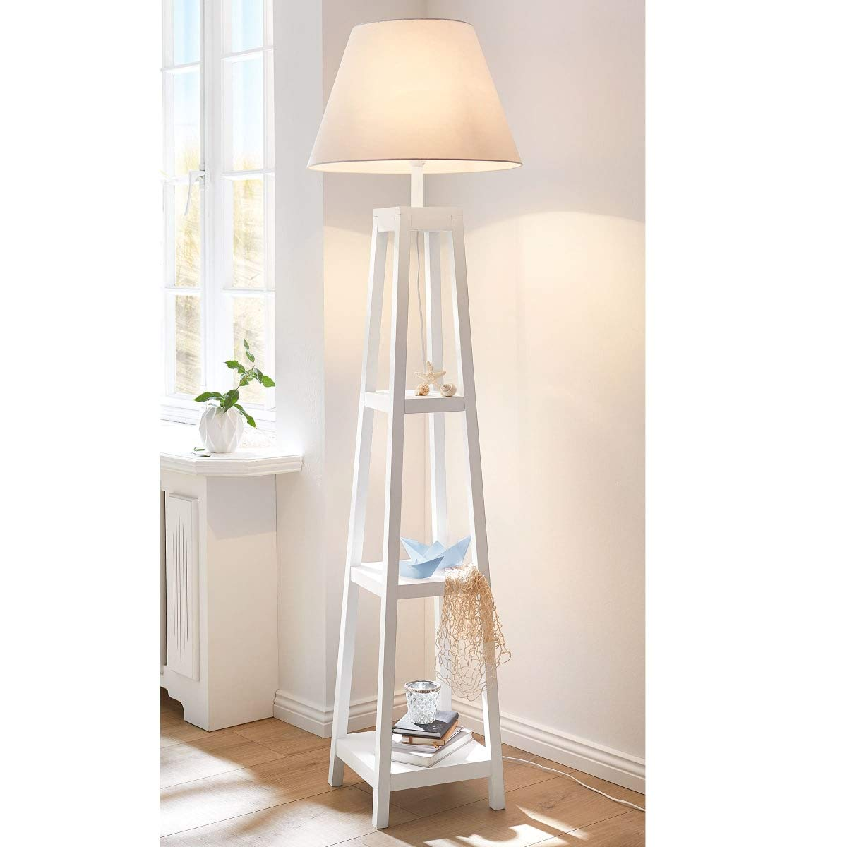 Stehleuchte Chap - Stehlampe - Regal - Holz - Stoffschirm - Weiß - Höhe ca. 162 cm
