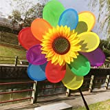 Techinal 1Pcs Plastic Windmill Wind Spinner Whirligig, Sunflower Rainbow Windmill Home Yard Decoration