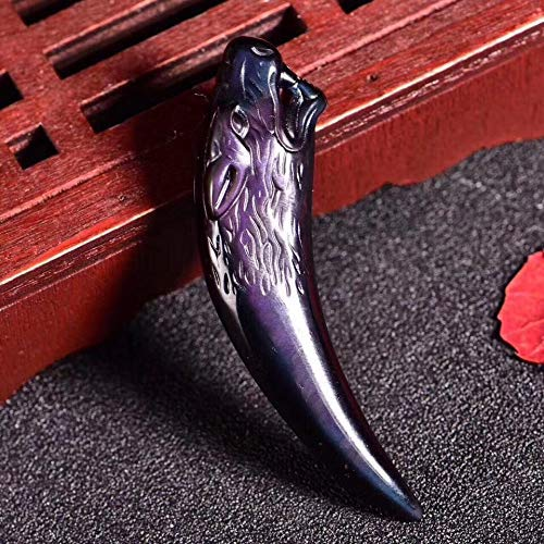 YunYang Handmade Raibow Obsidian Spike Pendant,7cm,Purple
