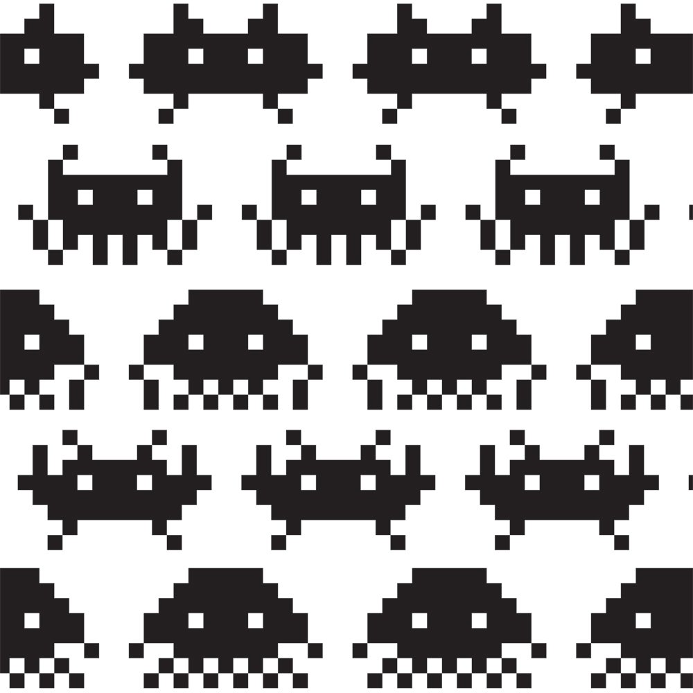 JP London 2 Thick Heavyweight Gallery Wrap Wall Canvas Art Game Space Invaders Retro Video 26 Inch SQCNV2235