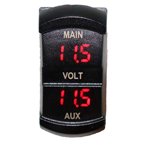 5-60V Motorcycle Switch Shape Battery Monitor Voltage Meter Dual Display Panel Car Boat Mini Electric Line Voltage Detector Wallfire LED Digital Voltmeter