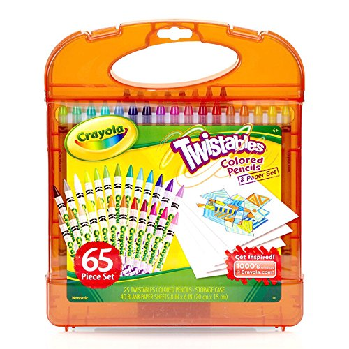 Crayola Twistables Colored Pencils & Paper Set, 65Piece Non-Toxic Art Gift for Adults & Kids 4 & Up, Kit Includes Twist-Up Colored Pencils Classic Colors & Paper in A Portable -