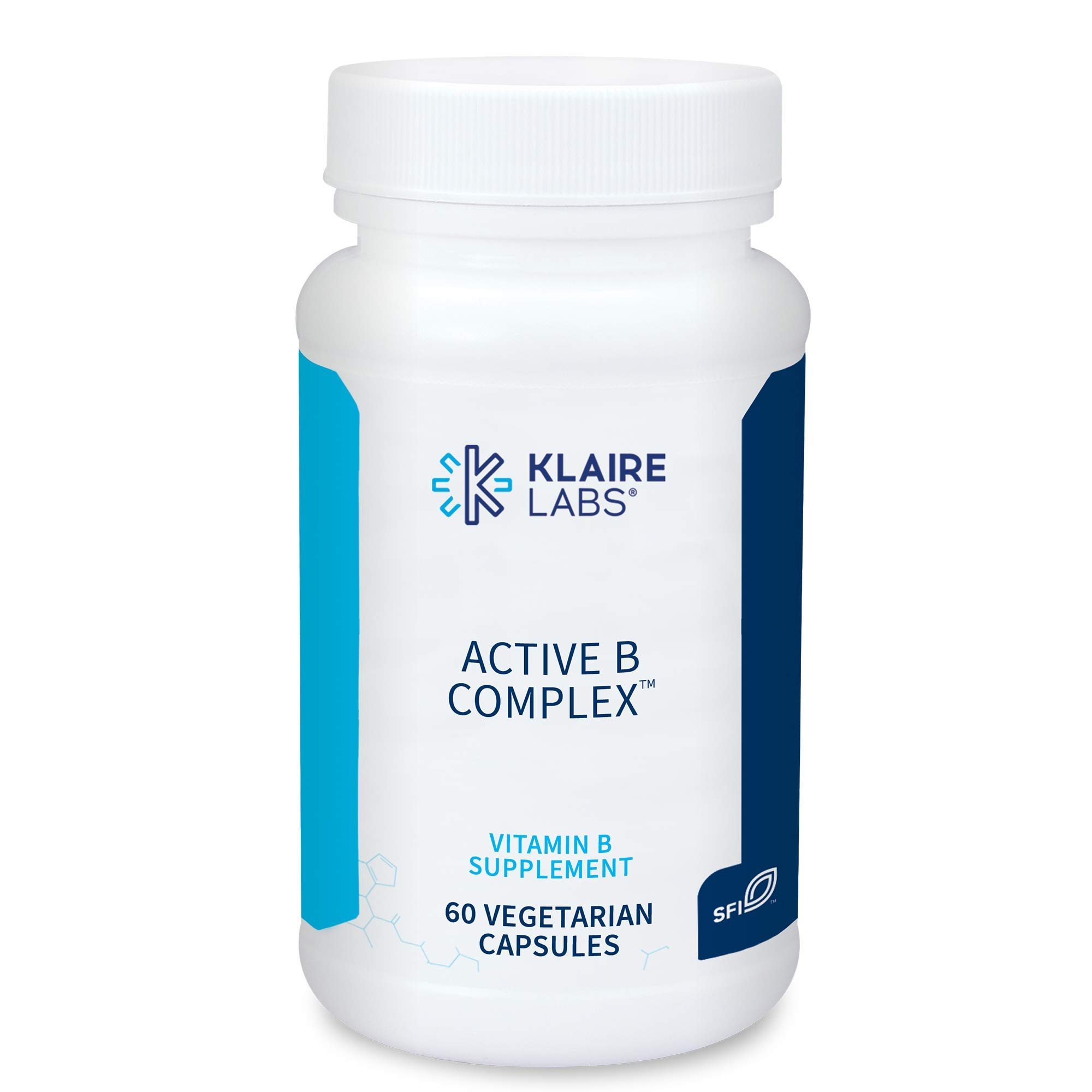 Klaire Labs Active B Complex - Energy & Mood Support B Vitamin Supplement with Metafolin Folate, Methylcobalamin B12, Biotin & VIT B6 - High Potency, Hypoallergenic B Vitamins (60 Capsules)
